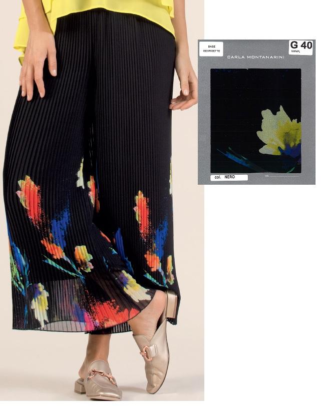 Pantalone plisse piega piatta lunghezza caviglia