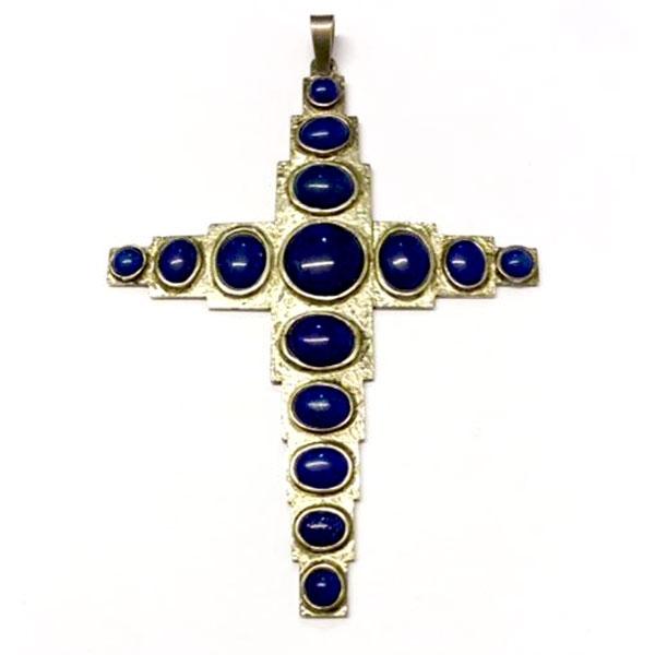 Croce Pettorale in Argento e Lapislazzuli