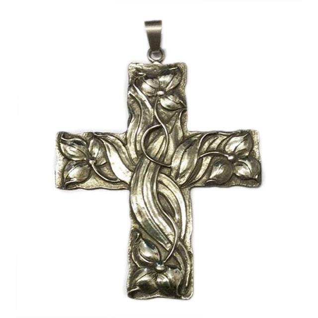 Croce pettorale in argento decorazione floreale