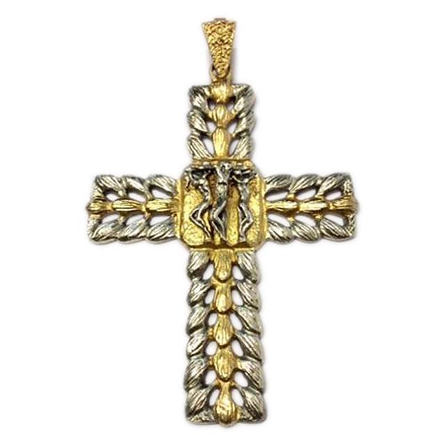 Croce Pettorale in Argento Bicolore Crocifissione