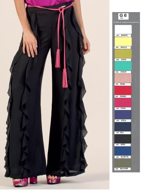 Pantalone con gamba svasata e rouches