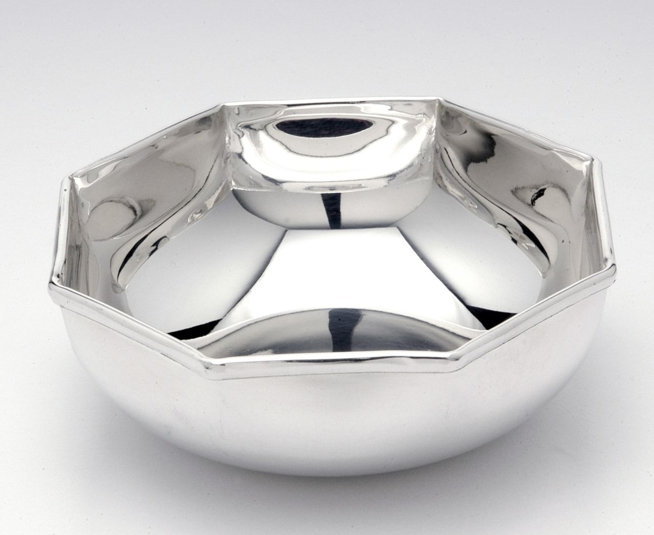 Ciotola placcata argento stile Ottagonale cm.5h diam.16