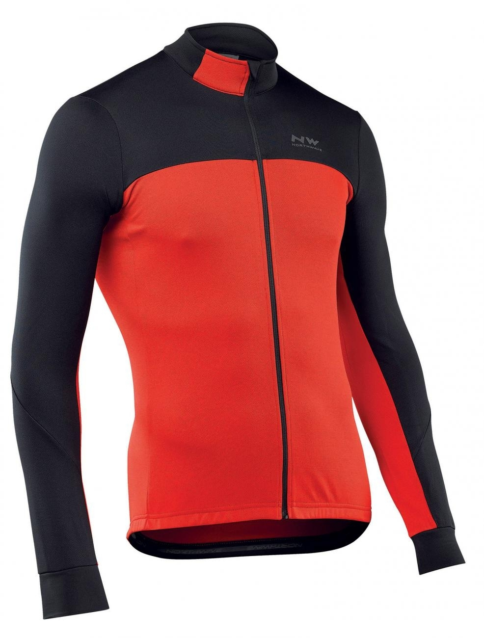 NORTHWAVE Man cycling jersey long sleeves full zip FORCE 2 black/red
