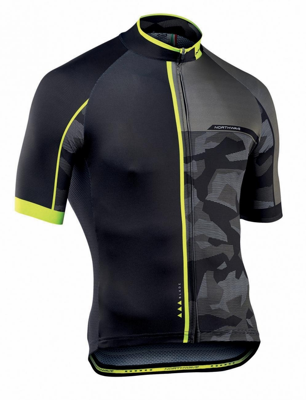 NORTHWAVE Man cycling jersey short sleeves BLADE2 grey/black camouflage