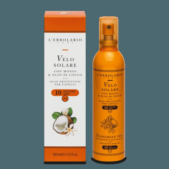 Velo Solare con Monoi & Olio di Cocco SPF10 100 ml olio protettivo per capelli L' Erbolario
