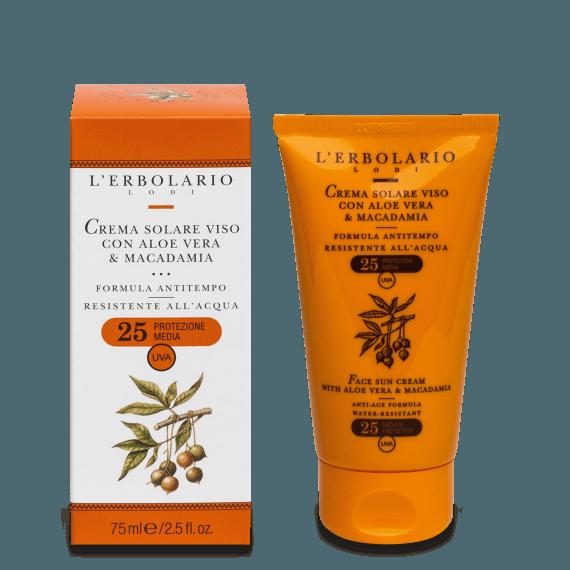 Crema solare viso con Aloe Vera & Macadamia SPF25 75 ml