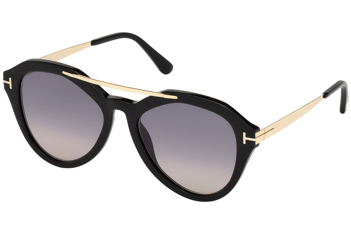 Tom Ford - Occhiale da Sole Donna, LISA, Matte Black-Gold/Grey Shaded  FT0576 (01B)  C54