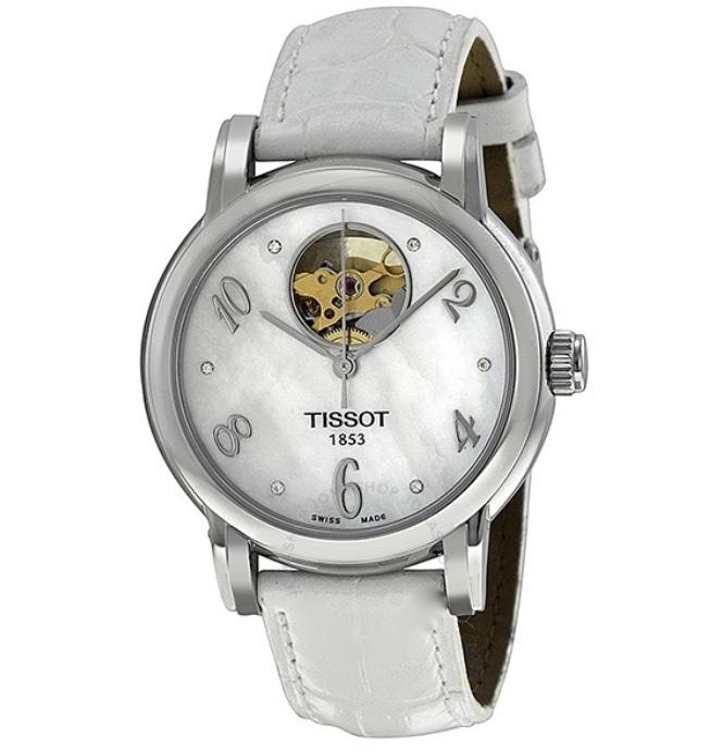 Orologio Tissot donna Dressport, cassa in acciaio e cinturino in pelle bianco T050.207.16.116.00