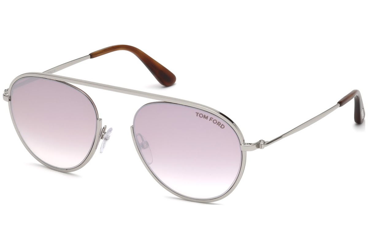 Tom Ford - Occhiale da Sole Donna, KEIT-02, Shiny Palladium/Light Pink Shaded  FT0599 (16Z)  C55