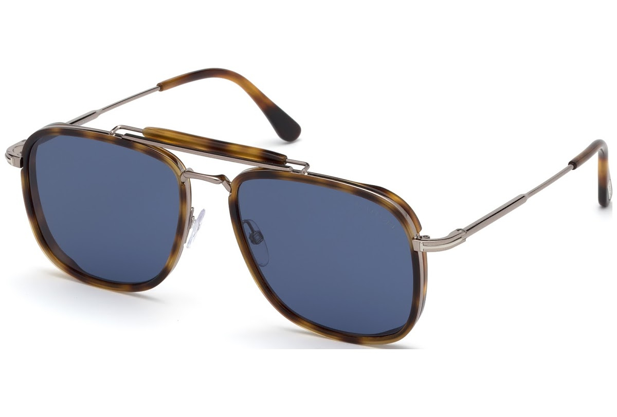 Tom Ford - Occhiale da Sole Uomo, HUCK, Blonde Havana/Blue Shaded  FT0665 (53V)  C56