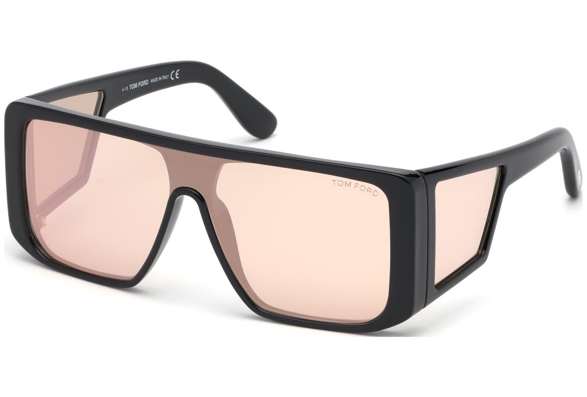Tom Ford - Occhiale da Sole Unisex, ATTICUS, Shiny Black/Light Pink-Violet Shaded  FT0710 (01Z)  C00