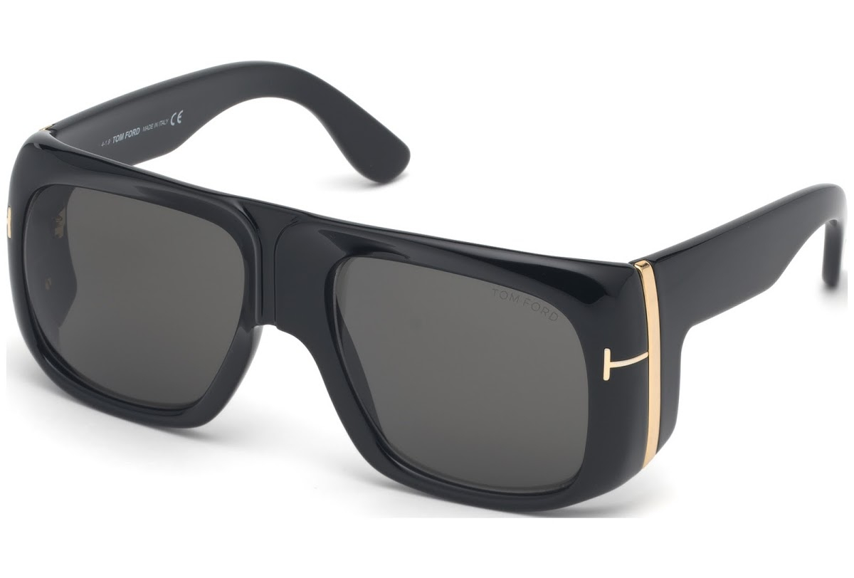 Tom Ford - Occhiale da Sole Uomo, GINO, Shiny Black/Smoke Grey Shaded FT0733 (01A)  C60