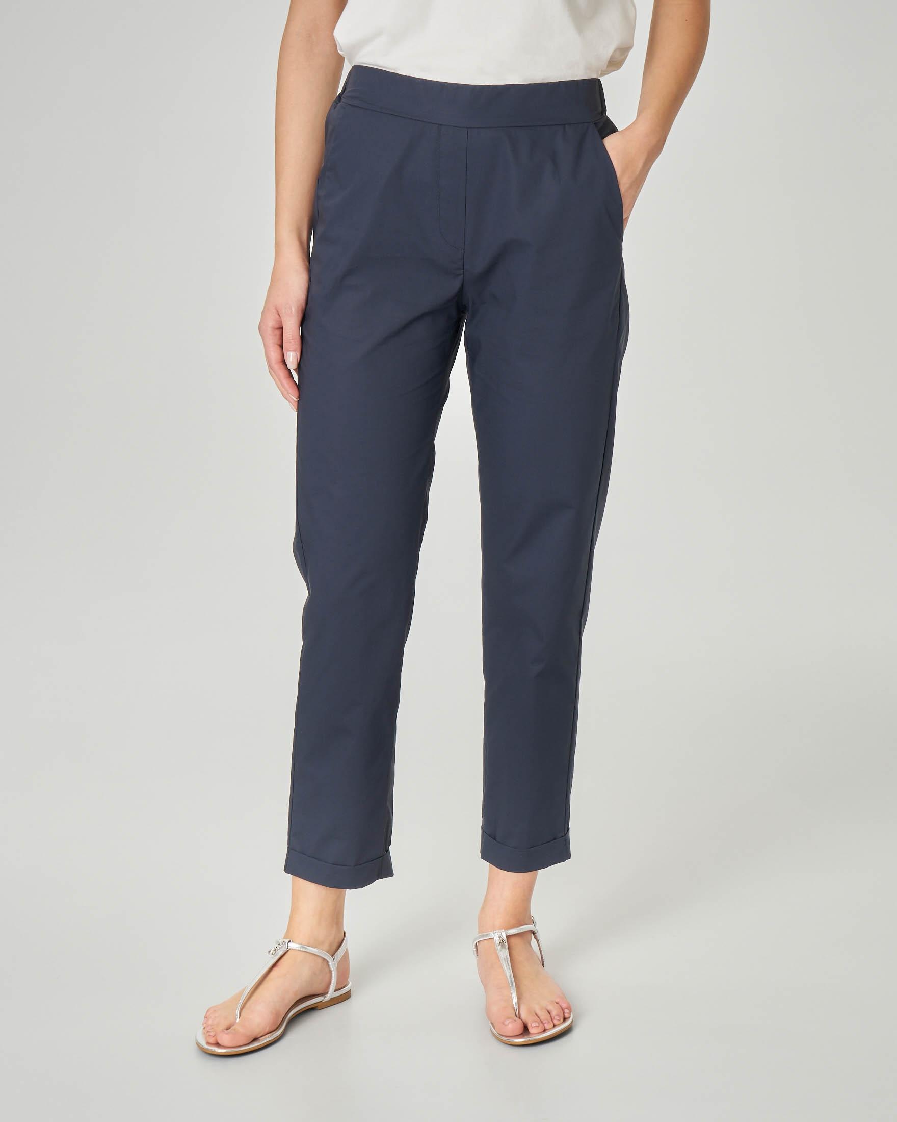 Straight Elastico Pantaloni In Risvolto Cotone Con E Alla Caviglia Vita Blu PkZiOXu