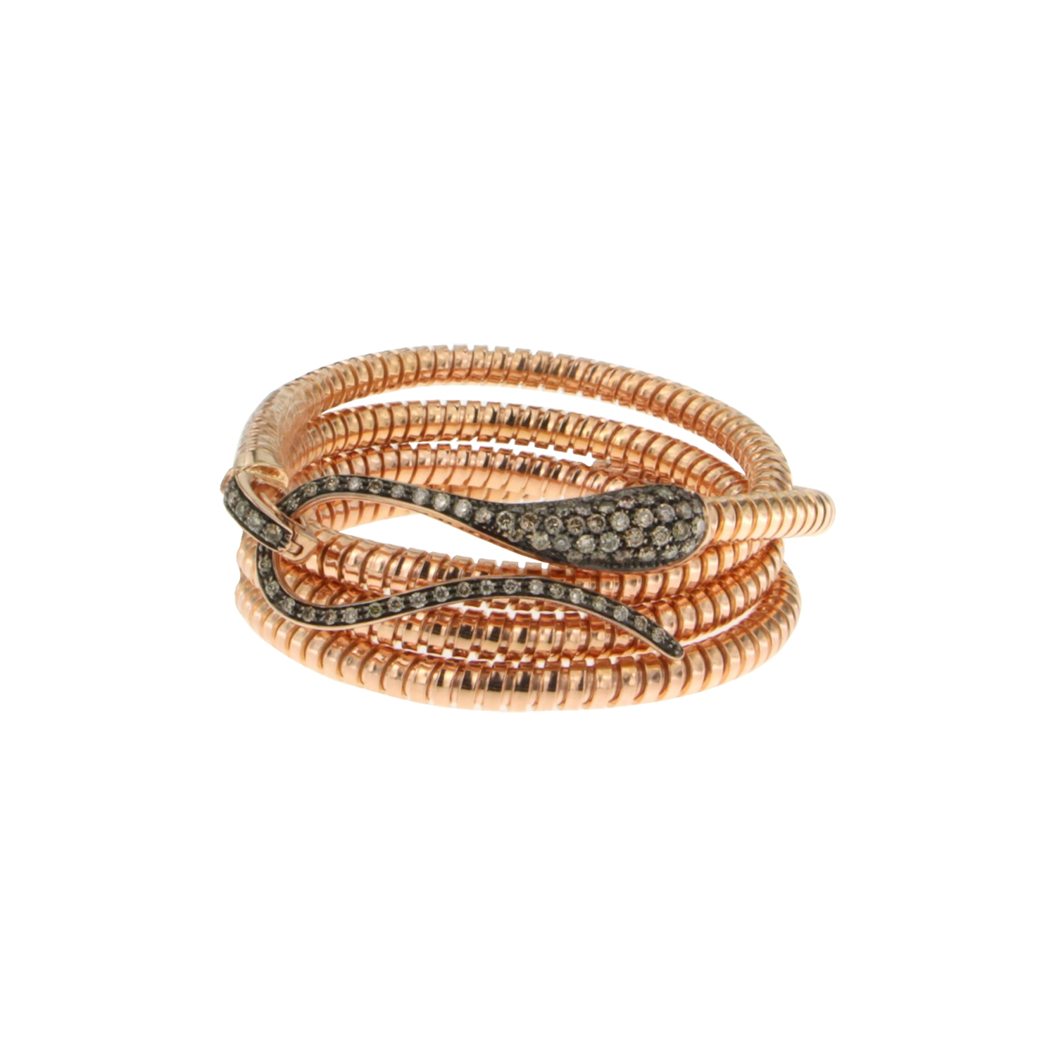 Bracciale in tubogas con chiusura in diamanti brown