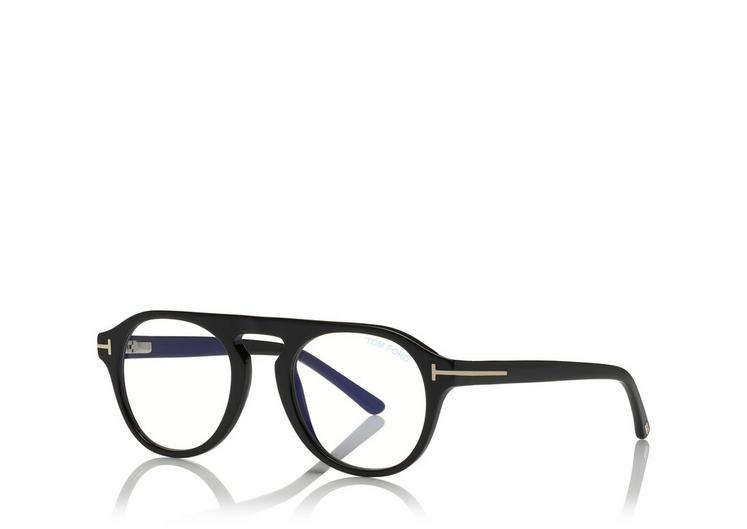 Tom Ford - Occhiale da Vista Unisex, BLUE BLOCK, Matte Black  FT5534-B  (001)  C49