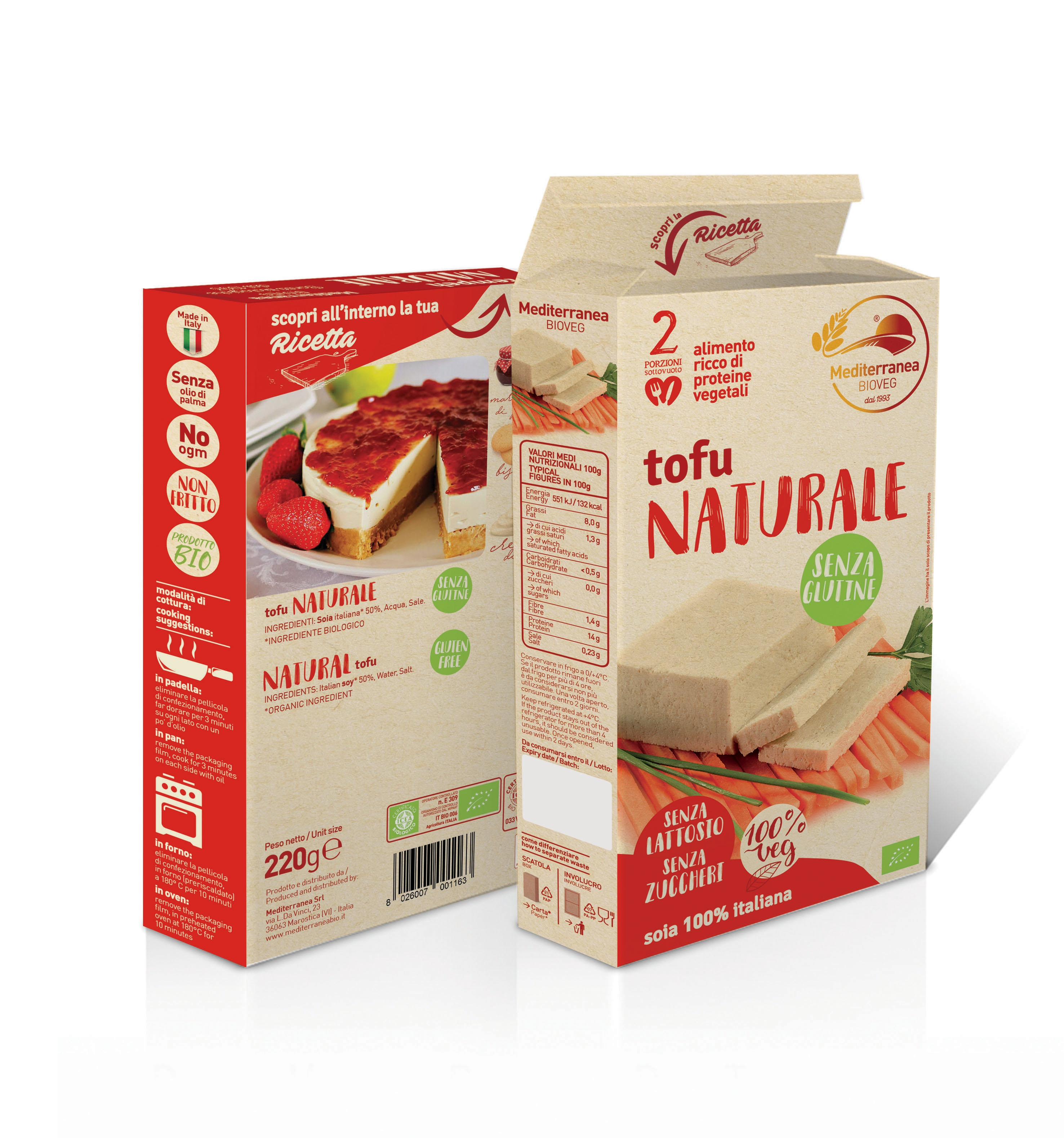 Tofu naturale senza glutine