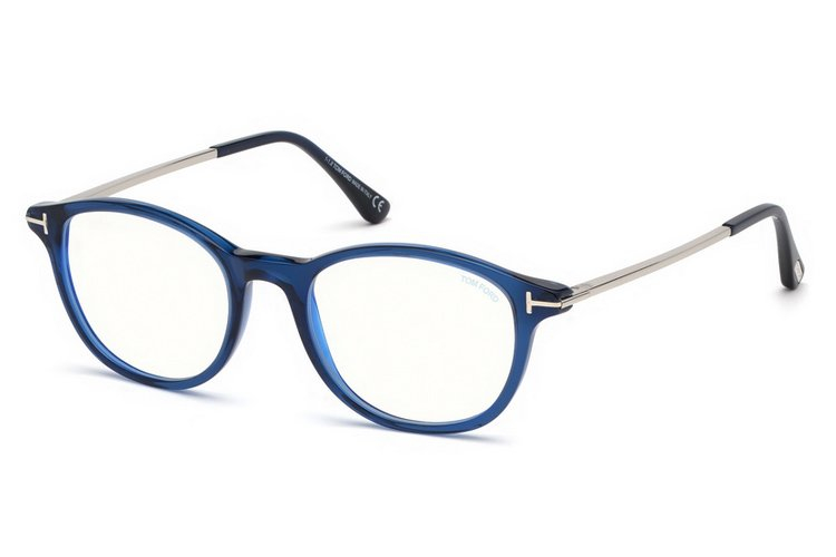 Tom Ford - Occhiale da Vista Uomo, BLUE BLOCK, Shiny Blue  FT5553-B  (090)  C52