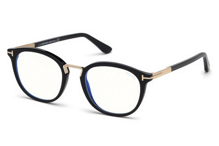 Tom Ford - Occhiale da Vista Unisex, BLUE BLOCK, Matte Black  FT5555-B  (001)  C51