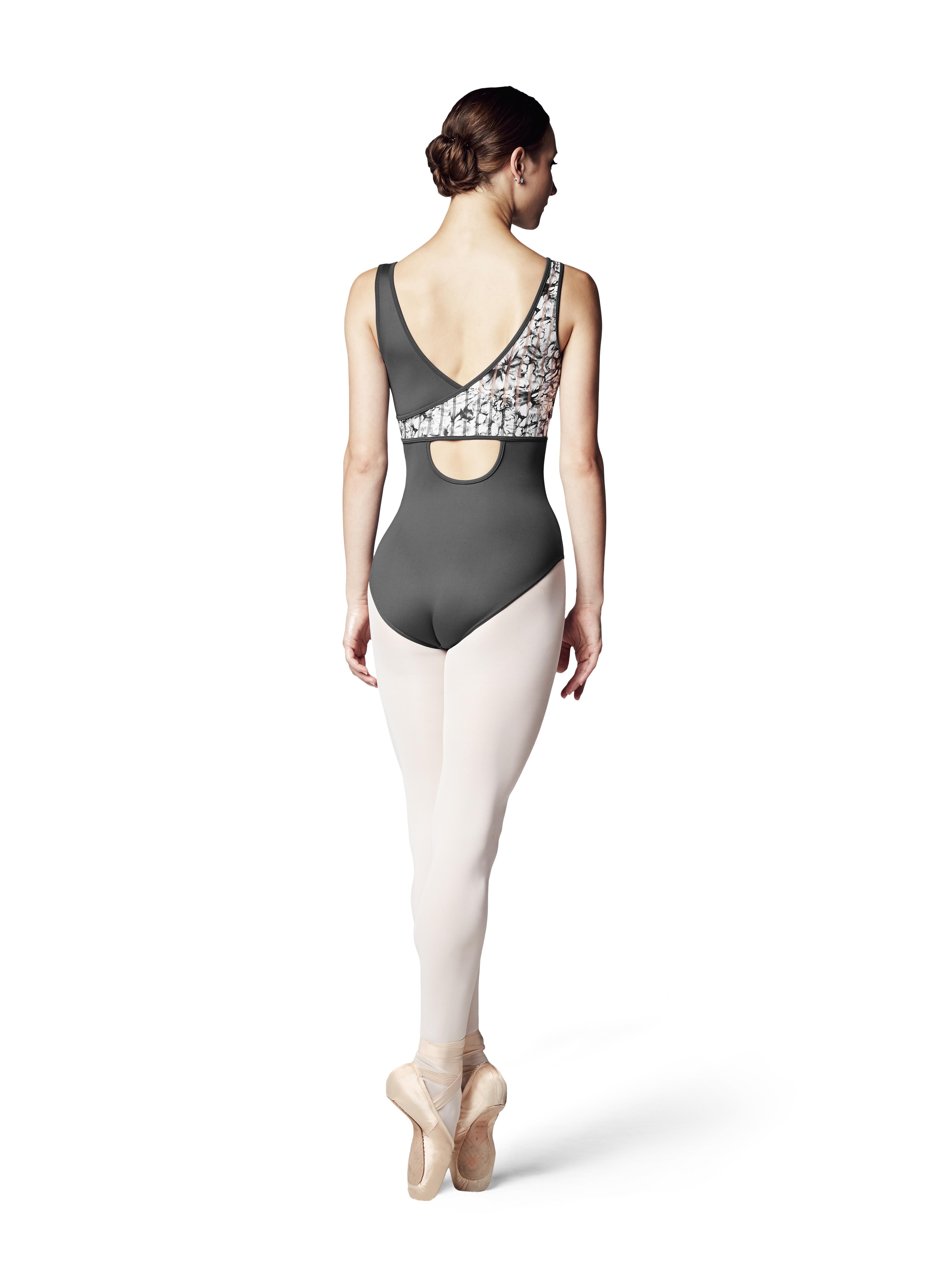 Arlo il  body Bloch Fashion  2018-19 con la stampa dei gigli  in due colorie lo scollo a V in offerta
