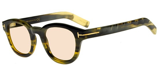 Tom Ford - Private Collection - Occhiale da Sole Unisex, TOM N.13, Striped Green Olive Horn/Light Brown Shaded  FT499-P  (62E)  C47