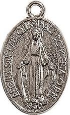 Medaglia Madonna Miracolosa metallo argentato media