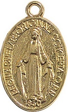 Medaglia Madonna Miracolosa metallo dorato media