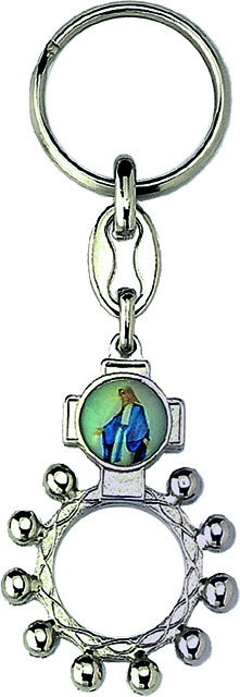 Portachiavi rosario basco metallo argentato