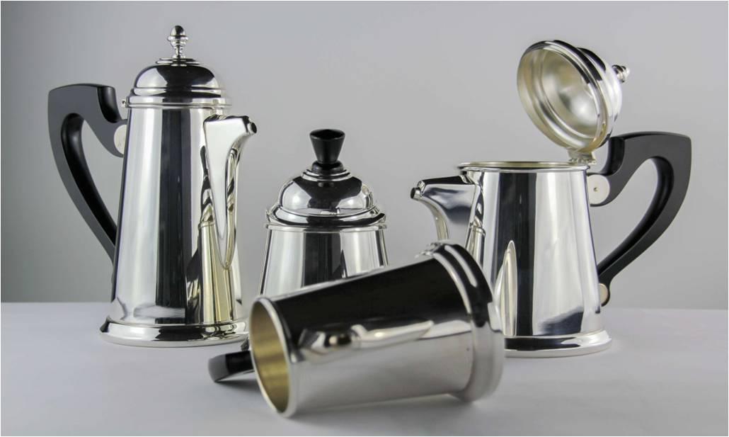 SERVIZIO CAFFÈ 4 PEZZI STILE INGLESECONICO IN ARGENTO 800