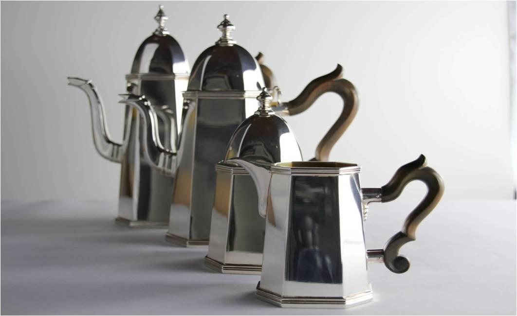 SERVIZIO CAFFÈ 4 PEZZI STILE INGLESE OTTAGONALE IN ARGENTO 800