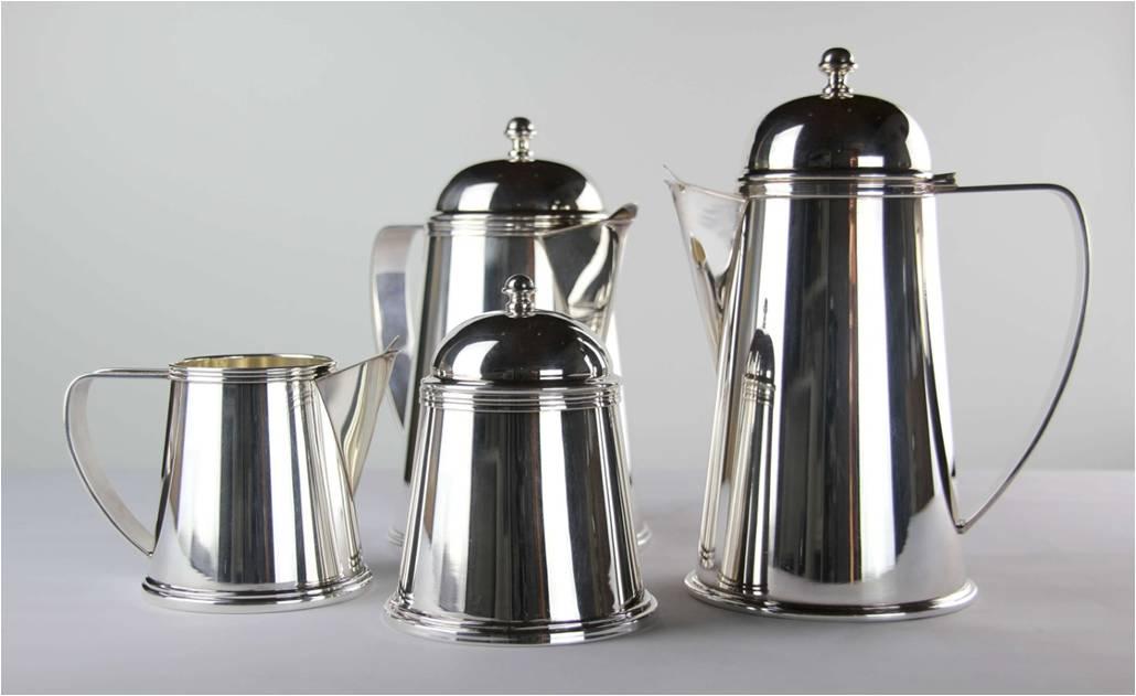 SERVIZIO CAFFÈ 4 PEZZI CONICO IN ARGENTO 800