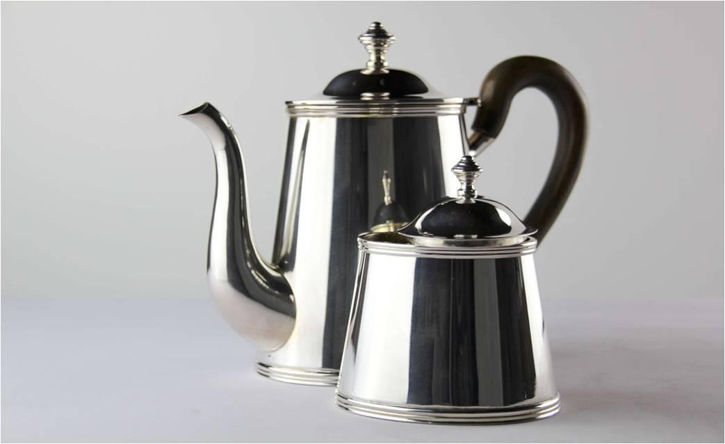 SERVIZIO CAFFÈ 2 PEZZI OVALE STILE INGLESE IN ARGENTO 800
