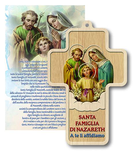FINE SERIE 19 pezzi - Benedizione con croce legno Sacra Famiglia