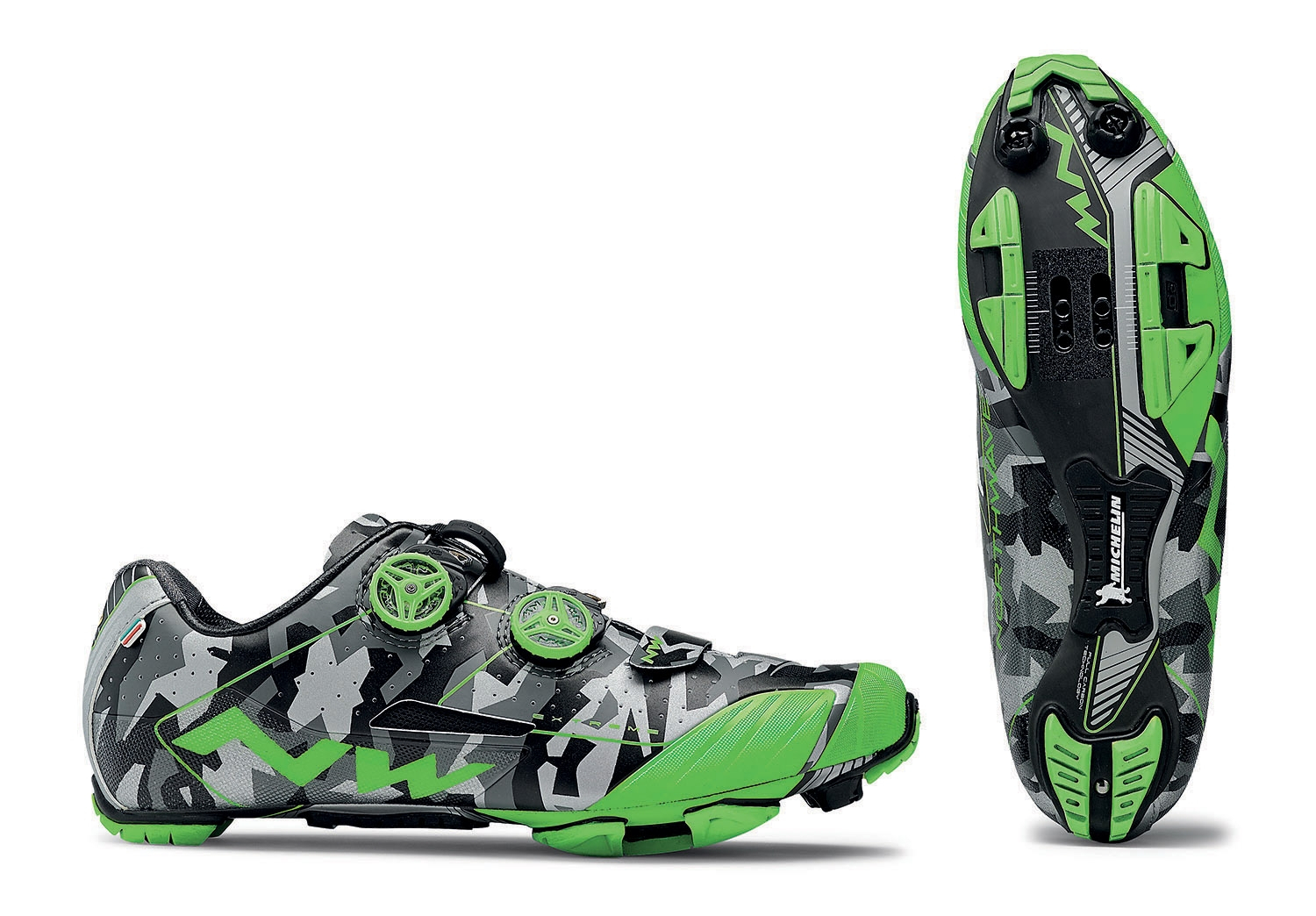 NORTHWAVE Man bike shoes EXTREME XC reflective camo/green fluo