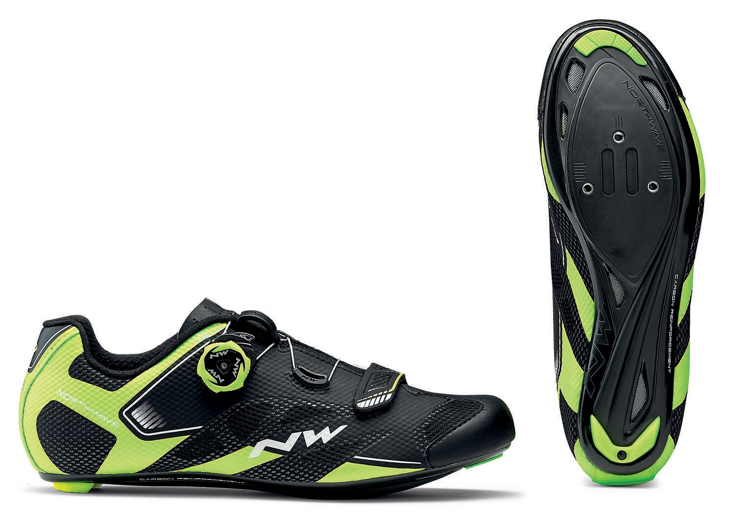 NORTHWAVE Man road cycling shoes SONIC 2 PLUS black/yellow fluo/white