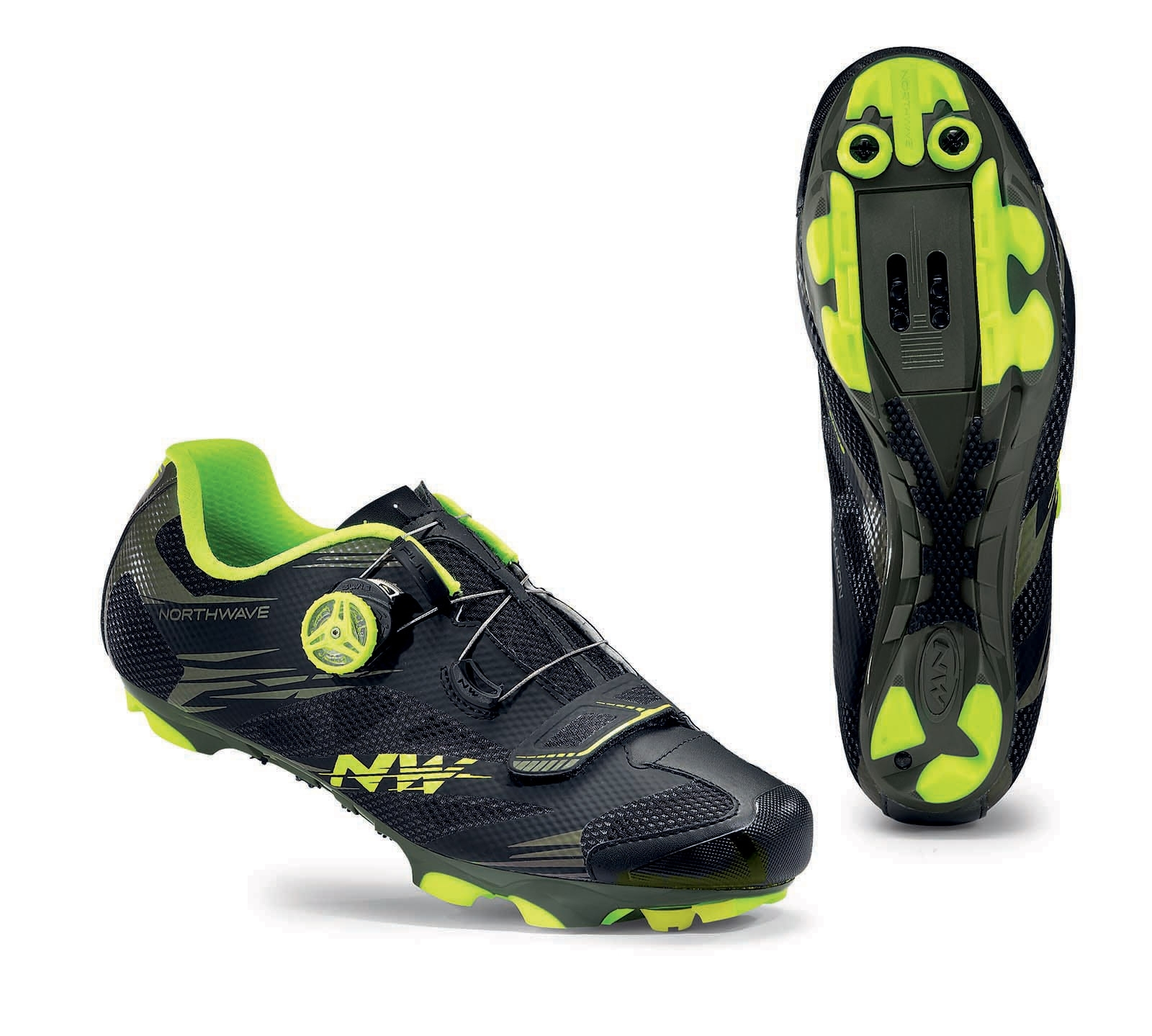 NORTHWAVE Man MTB XC shoes SCORPIUS 2 PLUS black military/yellow fluo