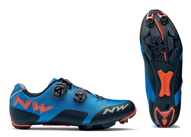 NORTHWAVE Man MTB XC shoes REBEL blue/lobster orange