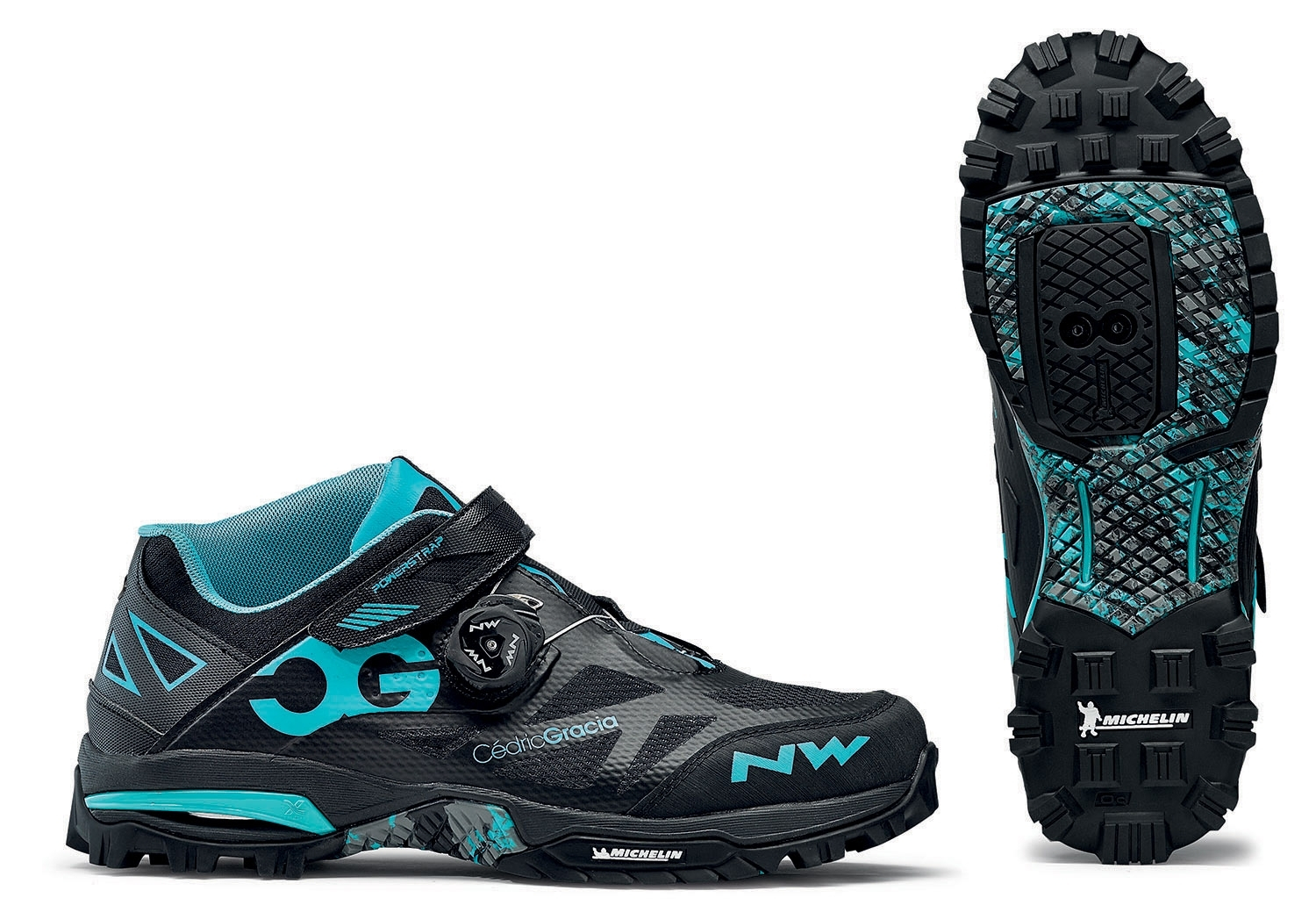 NORTHWAVE Man MTB enduro shoes ENDURO MID black/aqua