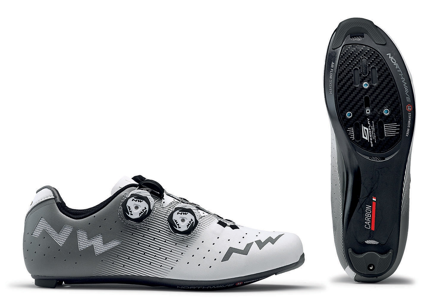 NORTHWAVE Man road cycling shoes REVOLUTION white/grey