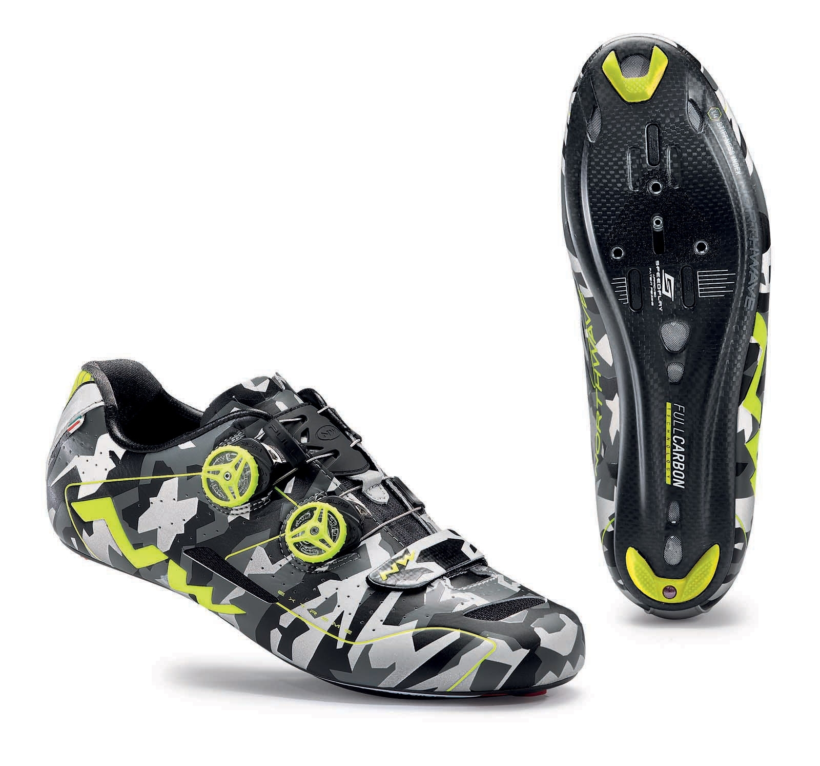 NORTHWAVE Man road cycling shoes EXTREME reflective camouflage/fluo yellow