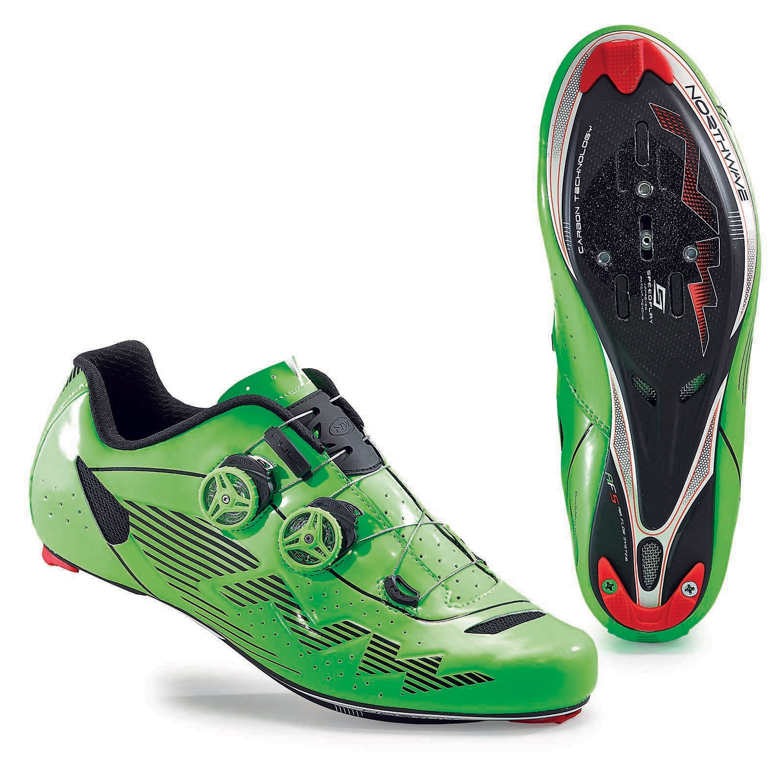 NORTHWAVE Man road cycling shoes EVOLUTION PLUS fluorescent green