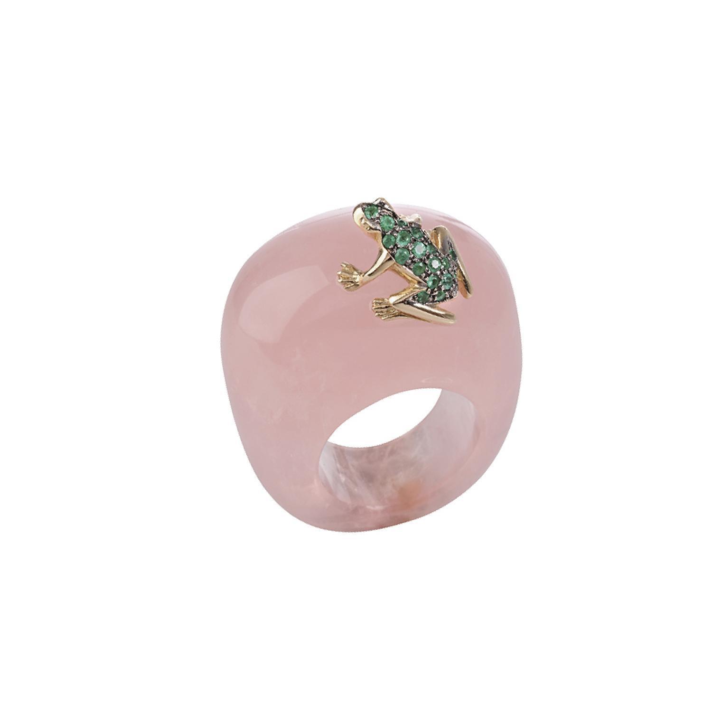 Anello in quarzo rosa, oro e smeraldi