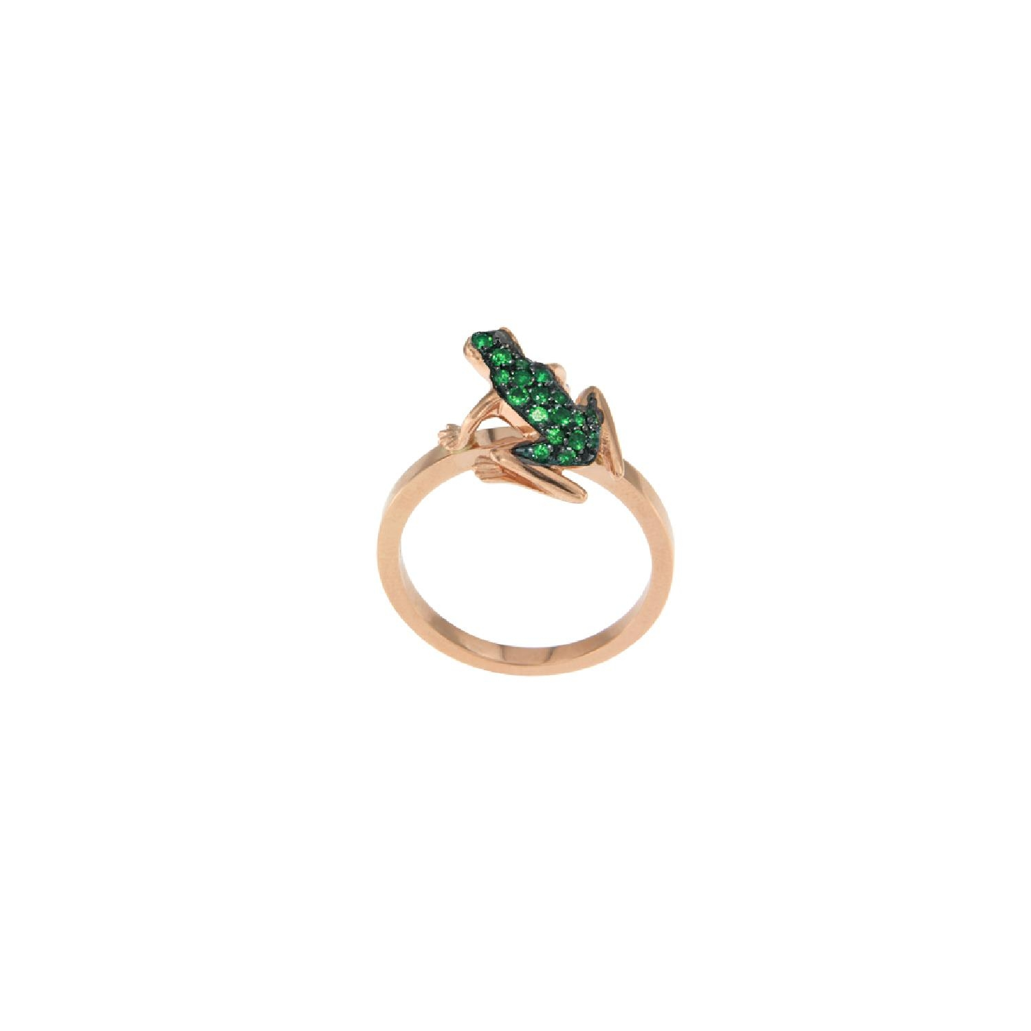 Anello Kissing Frog in oro rosa e smeraldi
