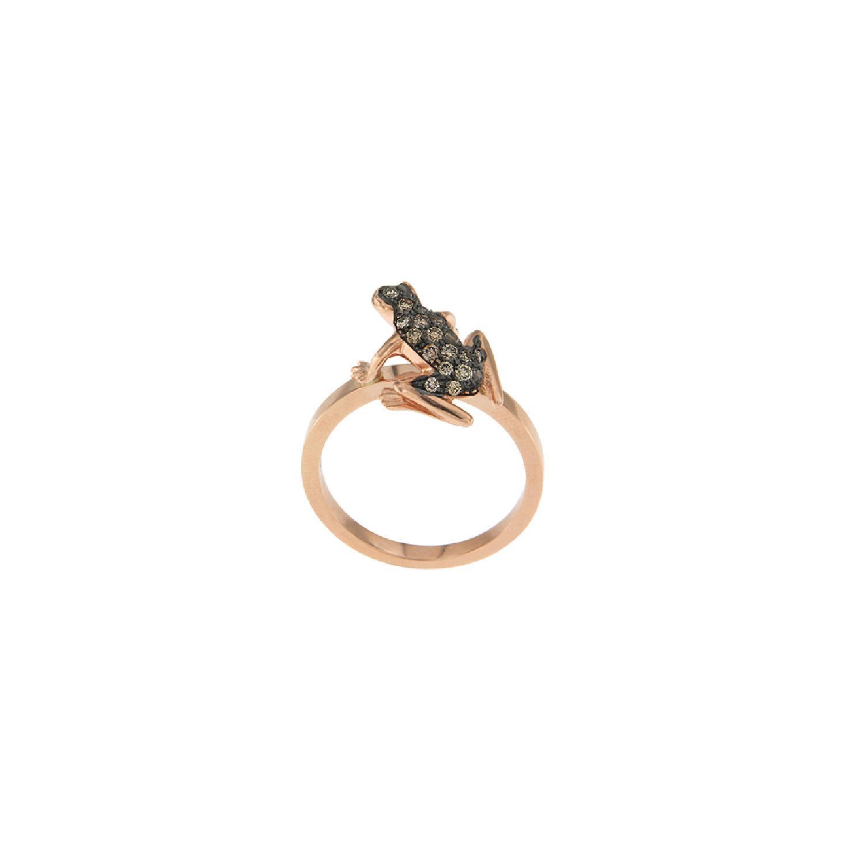 Anello Kissing Frog in oro rosa e diamanti brown