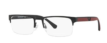 Emporio Armani - Occhiale da Vista Uomo, Matte Black Red  EA1072  3001  C55