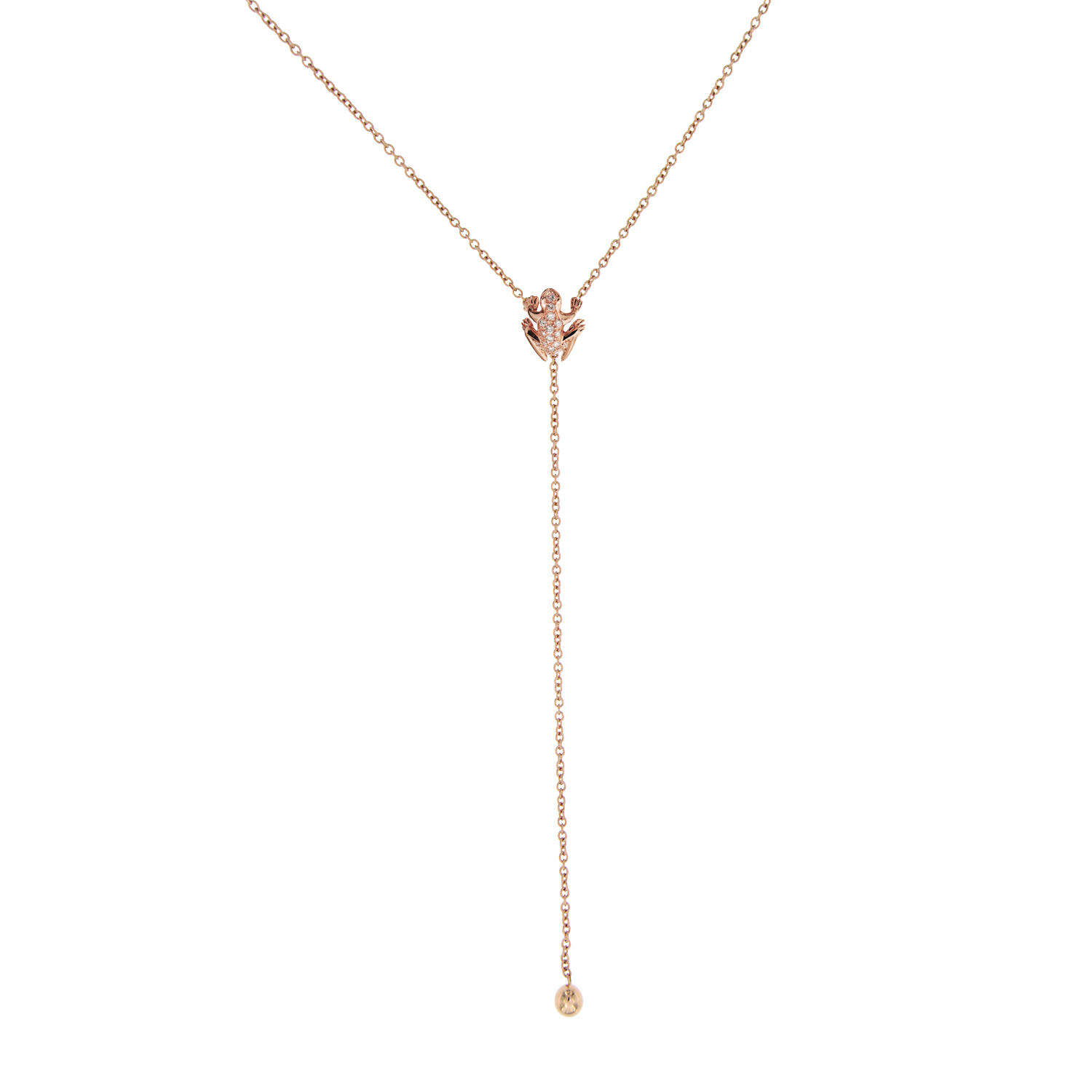 Collana Y-shape in oro rosa e diamanti