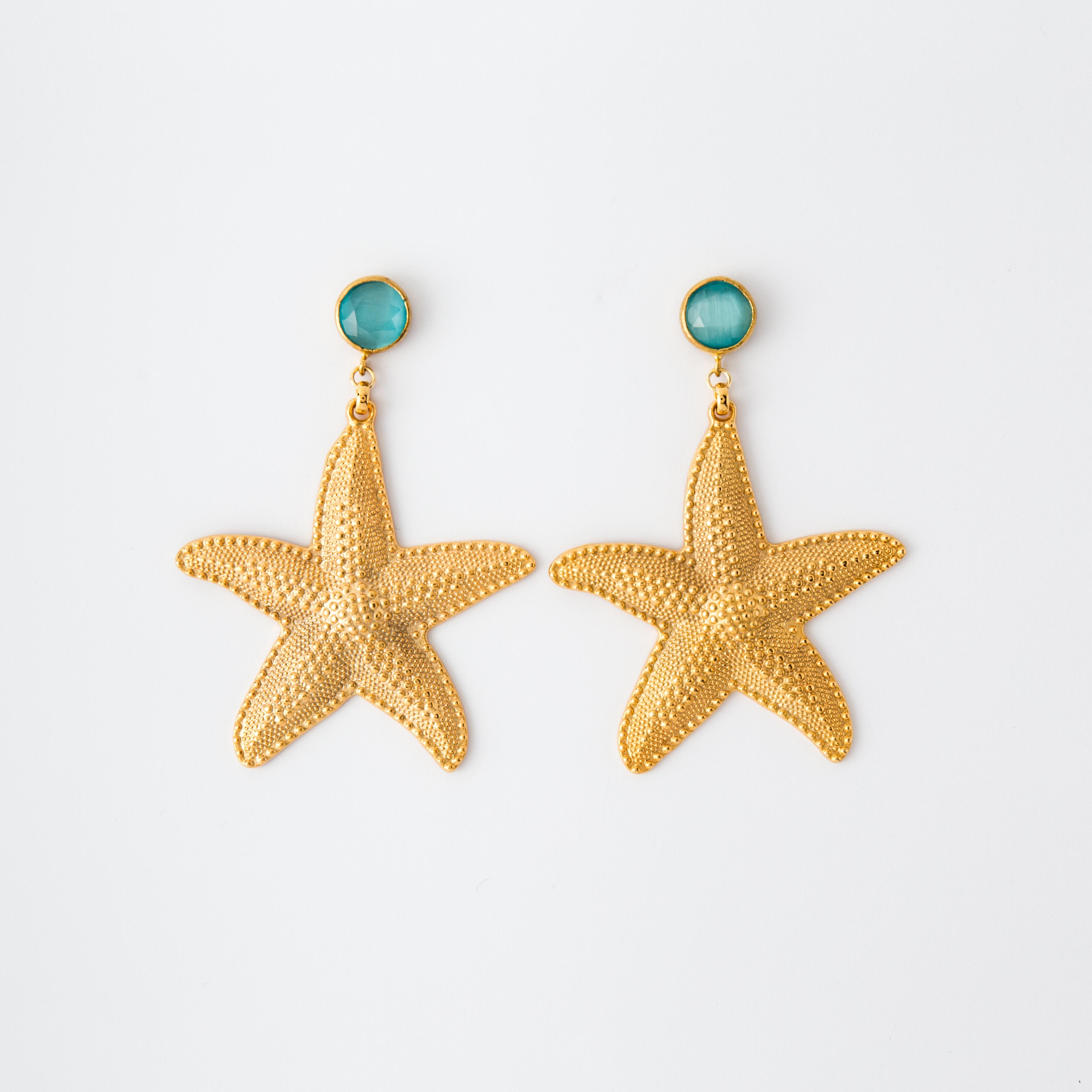 Orecchini stella marina in ottone galvanizzato