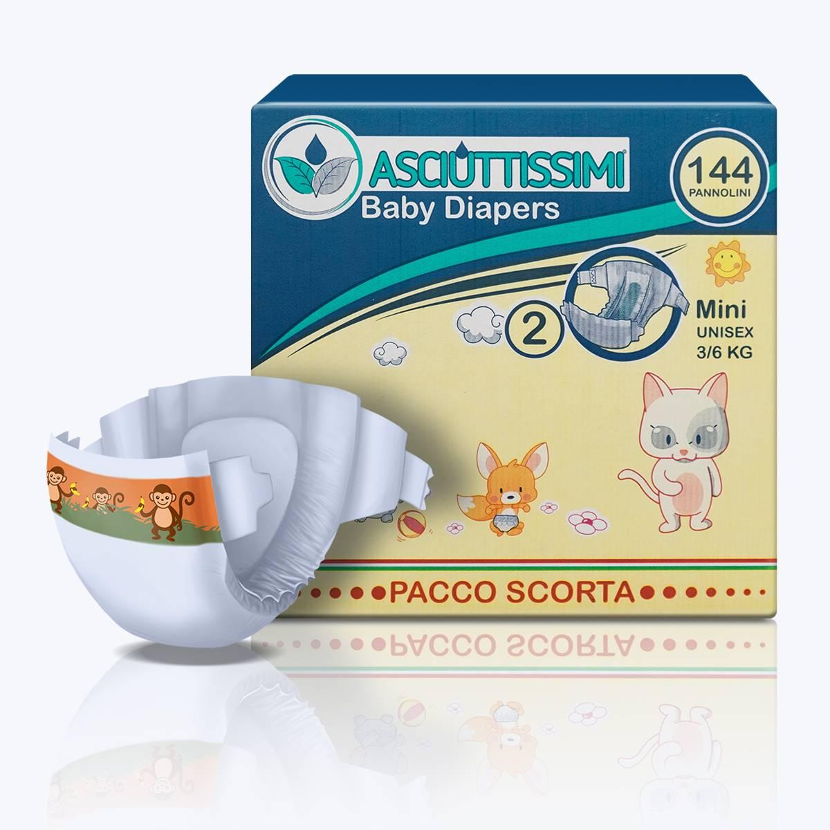 Pannolino Asciuttissimi Baby – tg. 2 (3-6kg) - pacco scorta (144pz)