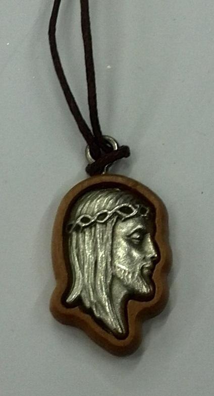 FINE SERIE - Volto di Cristo legno ulivo con laccio