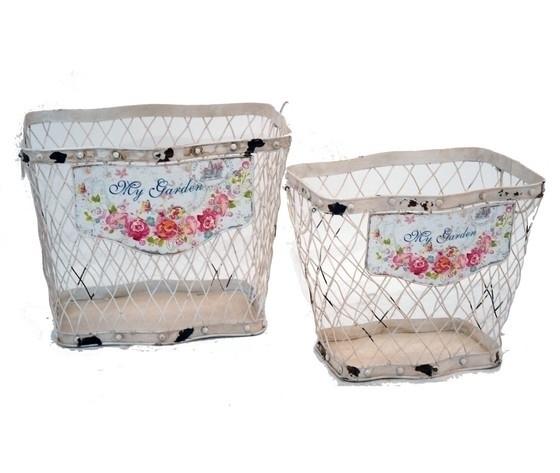 Set 2 cestini ferro bianco