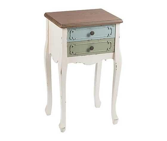 Comodino in legno massello colore bianco, con 2 cassetti colorati, stile Shabby Chic